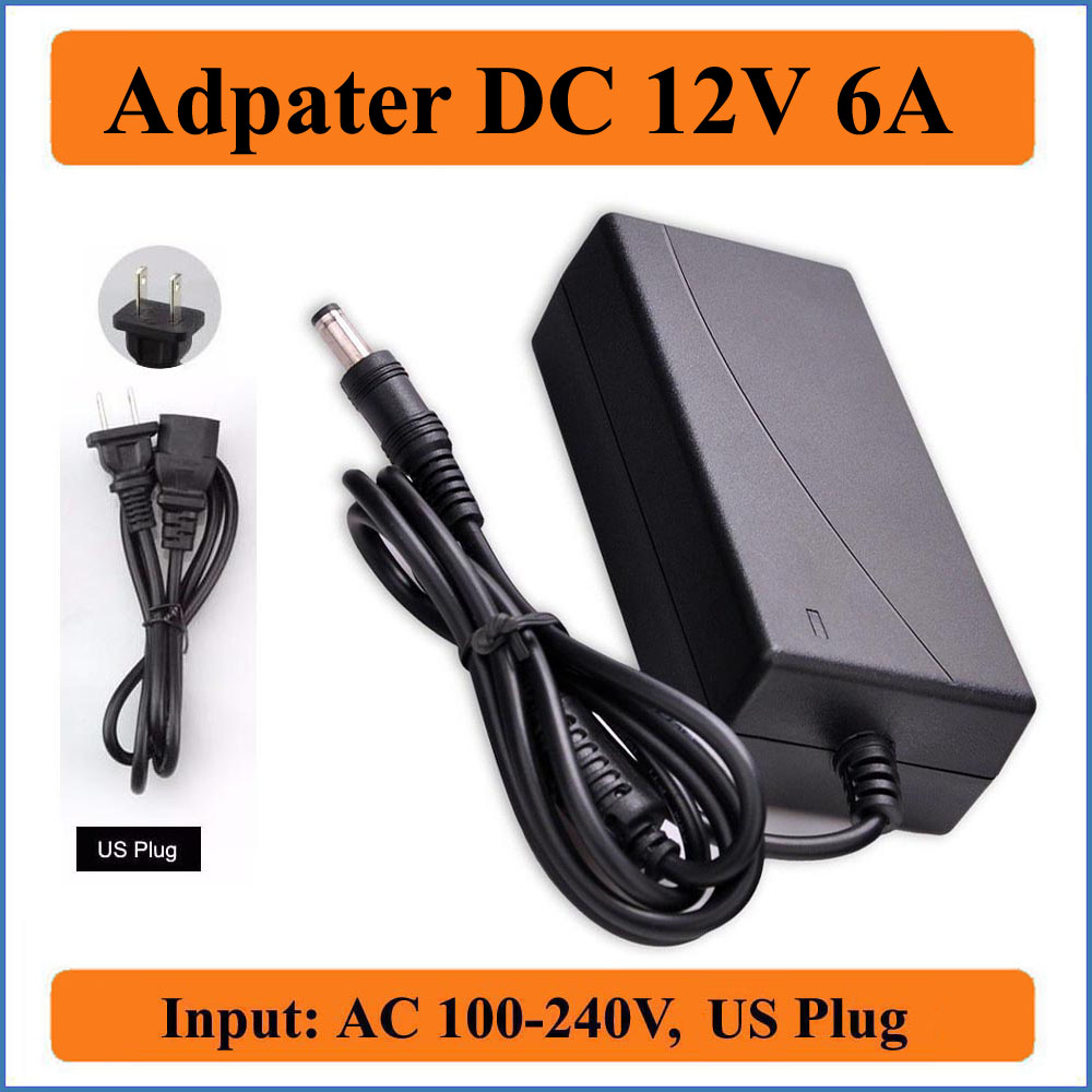12V 6A US Plug AC DC Adapter AC100-240V Converter to DC 12V 6000mA 72W Power Supply Charger for LED Strip Light/LCD Monitors