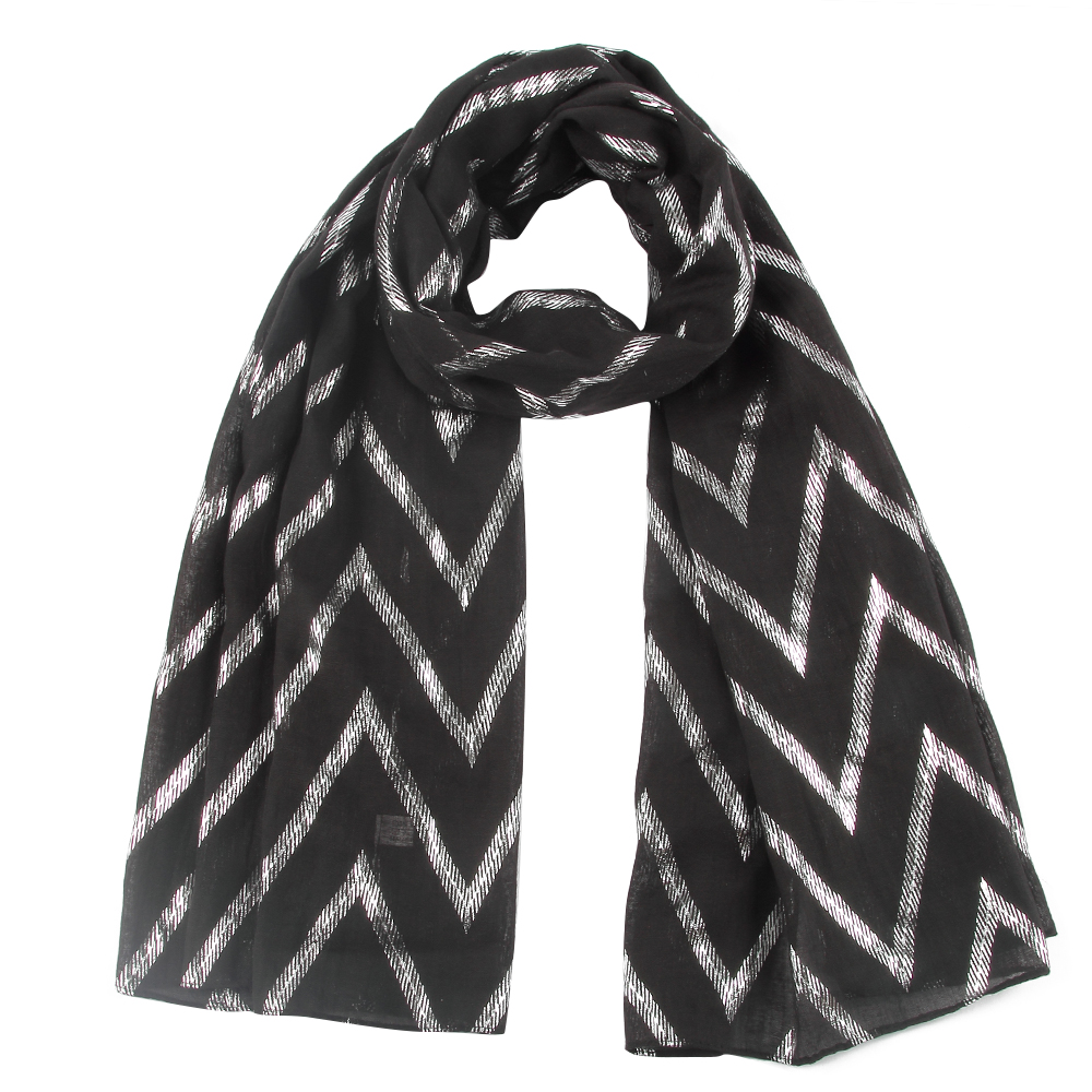 FOXMOTHER New Design Black White Grey Color Foil Sliver Wave Zig Zag Chevron Foulard Glitter   Scarf     Wraps   Womens Mother Gifts
