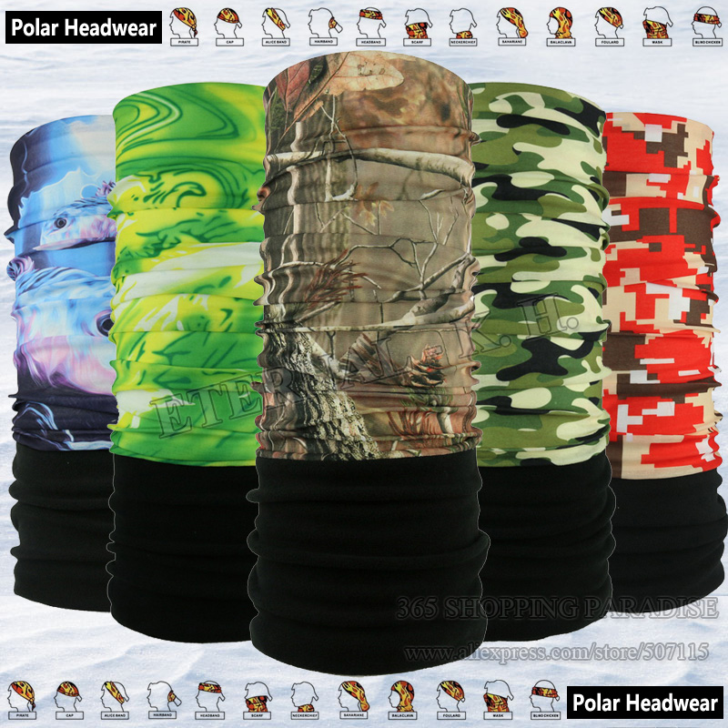Multi Camo Styles Vinter Sykling Mask Utility Motorsykkel Polar Polartec Bandanas Outdoor Multifunction Fleece Headwear