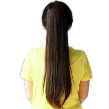 Long Lady Girl Straight Ponytail Wigs Hair Hairpiece Extension Dark Brown