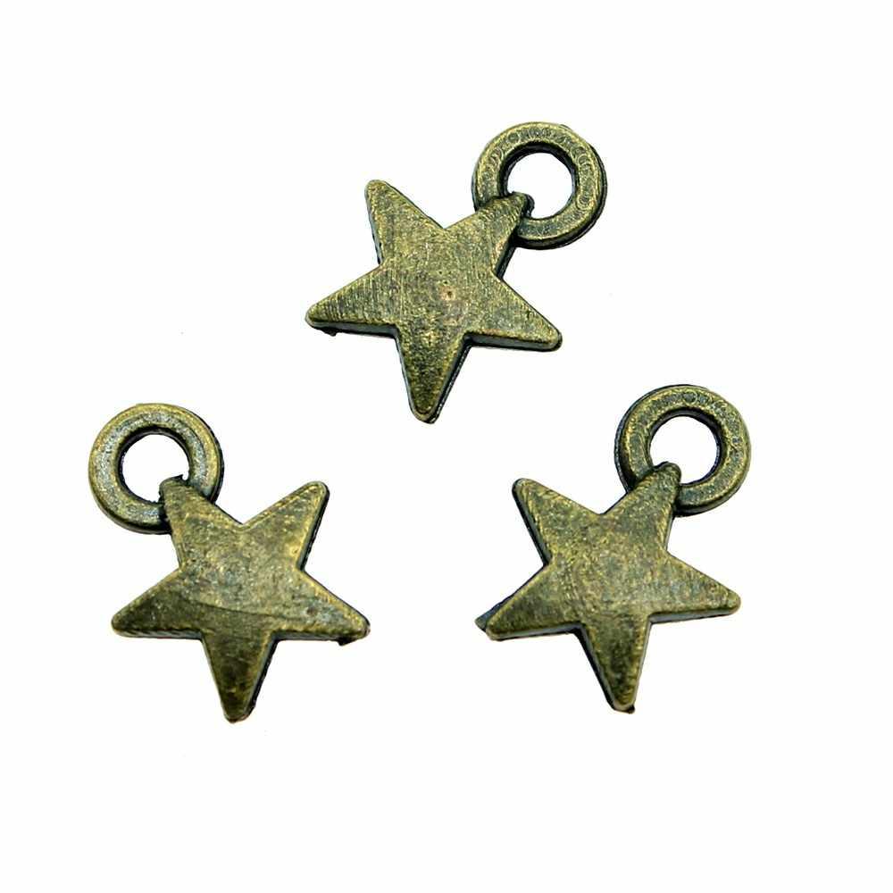 Украшения в виде звездочек подвеска «сделай сам» ювелирных изделий античный бронзовый тон 0,4 дюйма (9 мм) 50 шт./лот
