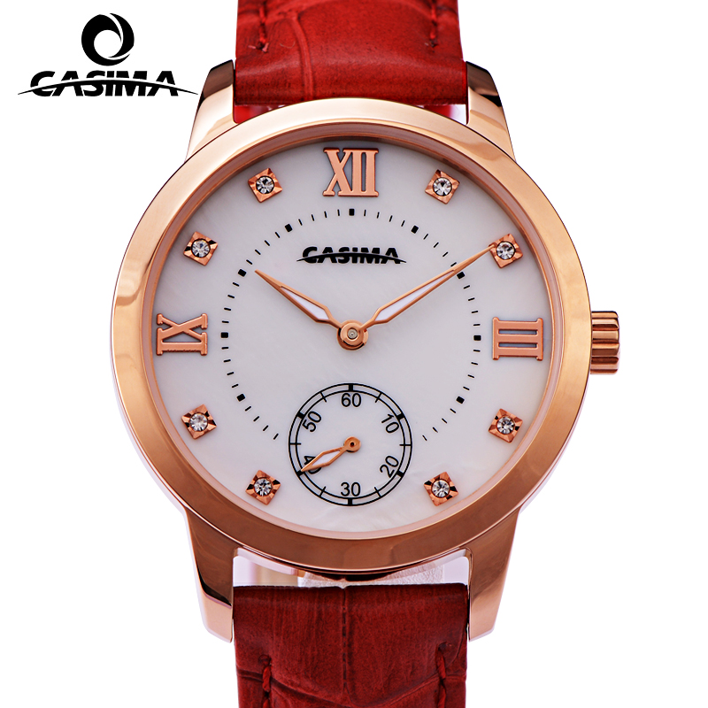CASIMA Luxury Brand Women Watches Gold Waterproof Genuine Leather Bracelet Ladies Quartz Wrist Watch Clock 2017 Saat Reloj Mujer relogio feminino casima women watches fashion waterproof leather diamond ladies quartz wrist watch clock saat 2018 reloj mujer
