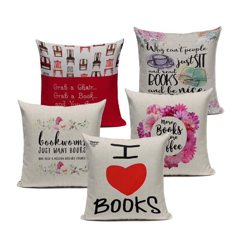 I love books  Happy Reading more Coffee Tea Wine  Home Decor Sofa Car Seat Decorative Cushion Cover Pillow Case Capa Almofada