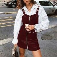 Simplee PU leather women dress V neck zipper belt mini sexy dress Vest strap ladies short party dress sundress vestidos 2019