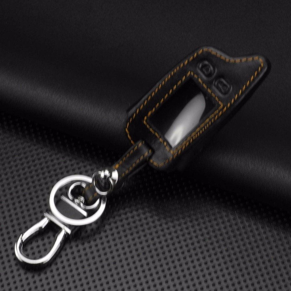 Image 3 - jingyuqin 5 Buttons Remote Leather Key Cover Case For Tomahawk TW9010 TW9030 Two Way Alarm System LCD Controller Keychain-in Key Case for Car from Automobiles & Motorcycles