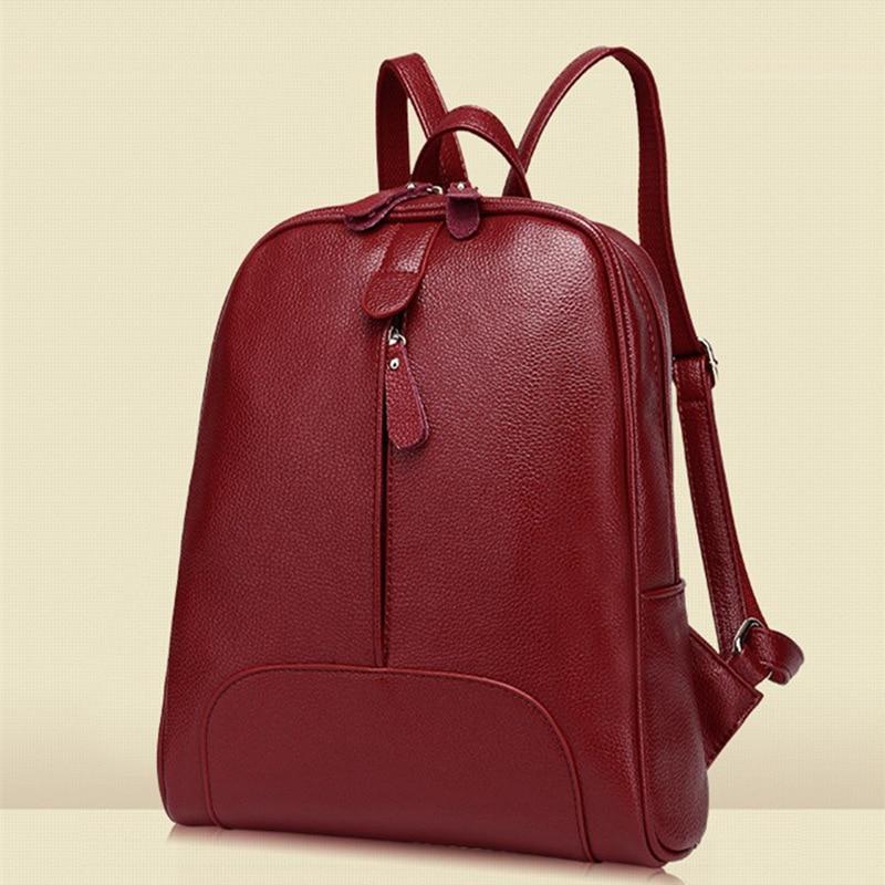 Fashion Genuine Leather Women Mochila PU Leather Japan Korean Style Female Backpack Lady Strap Laptop Daily