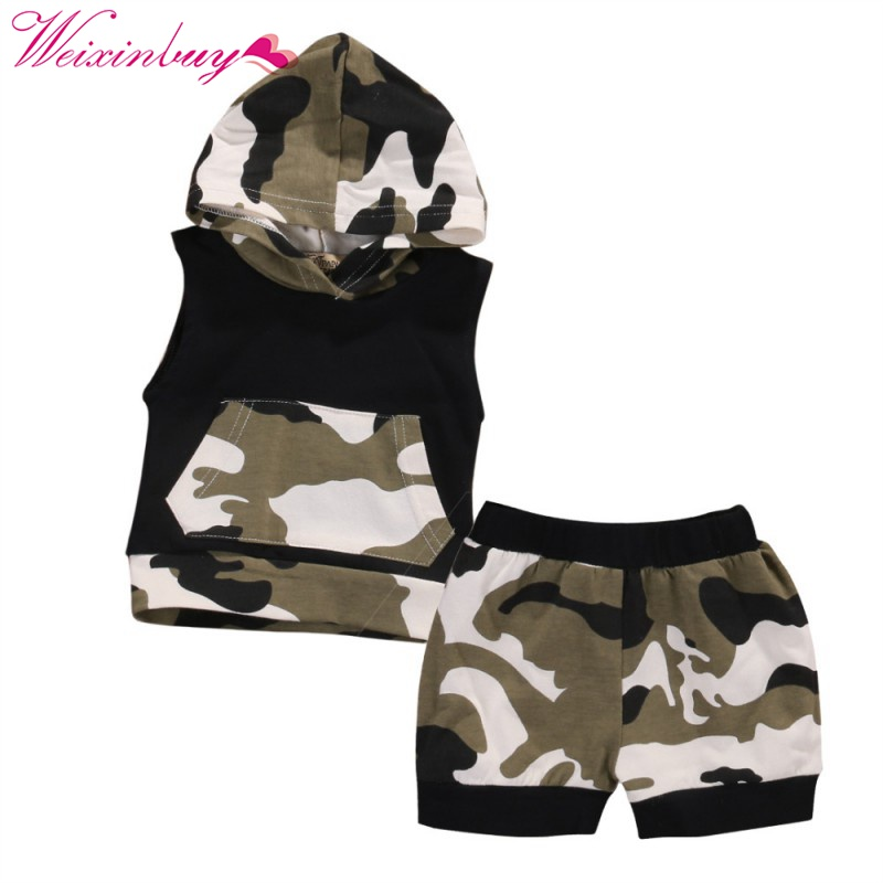 2pcs Newborn Infant Baby Boy Girl Clothes Summer Cotton Camouflage Sleeveless Hooded T-shirt+Short Pants Baby Clothing Set