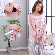 Maternity Striped Pajamas Set Full Sleeve Breastfeeding Sleepwear Nursing Pajamas for Pregnant Women Maternity Clothings
