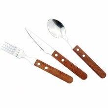 Jankng 3pcs Lot Wood Handle Dinnerware Set Stainless Steel Silverware Plated Fork Knife