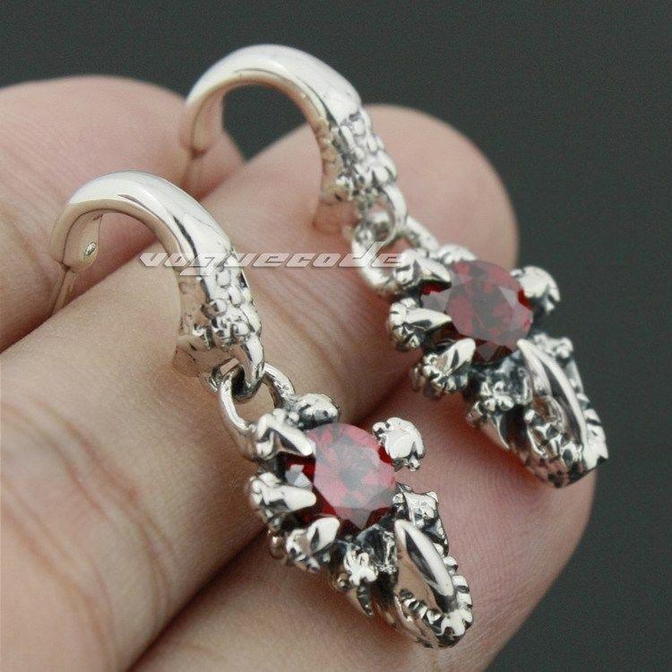 цена на 925 Sterling Silver Dragon Claw Hold Red CZ Mens Biker Rocker Stud Earring 8R006 (2 Pieces)