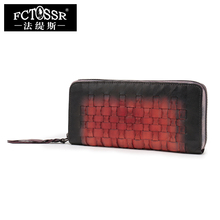 2017 New Hand-Hit Color Genuine Leather Women Wallet Retro Leisure Day Clutches Hand-Held Baotou Lattice Woven Leather wallet