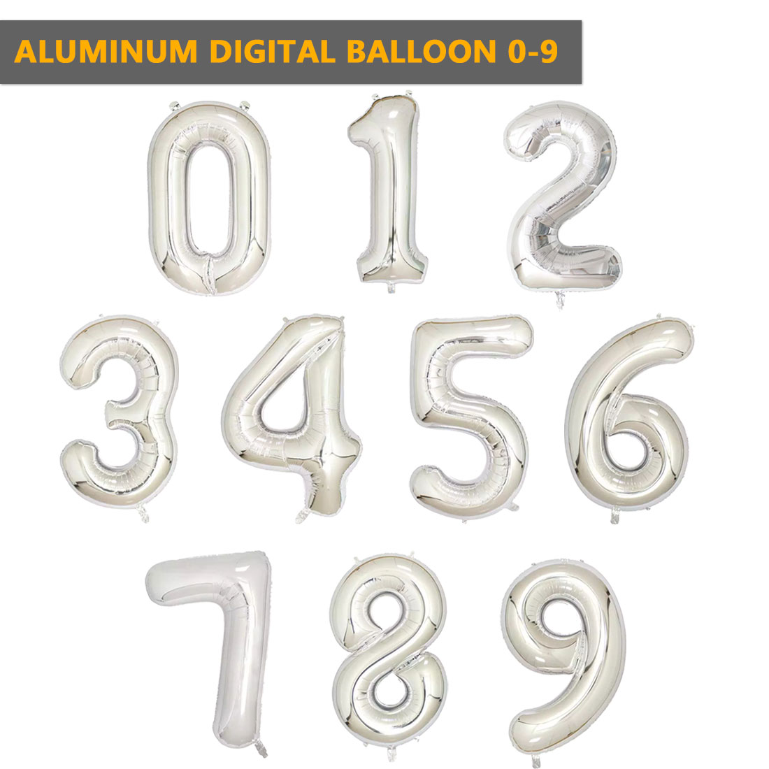 32 Inches Silver Digit Foil Number Balloons Number Iinflatable Wedding Birthday Number Foil Balloon Event Party Supplies