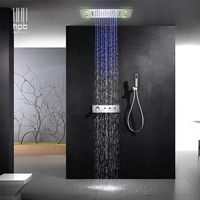 HPB wall mounted led 3 colors 3way rainfall waterfall shower faucets sets with thermostatic 3 function mixing valve 014 50x36P N