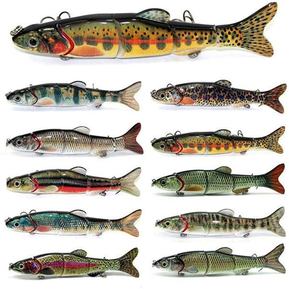 Freshwater fish dace - 6 5 Inch Multi 5 Jointed Segments Dace Swim Bait Crank Baits Freshwater Minnow Bass Fishing Lure