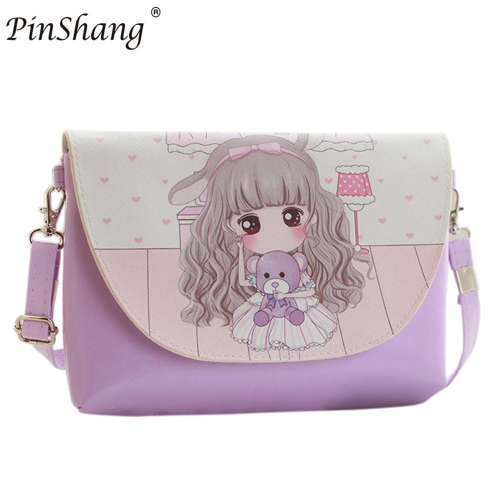 PinShang Children Girl Shoulder Bags Cartoon Printing Mini PU Leather Crossbody Princess Messenger Bag   HOT NEW ZK30