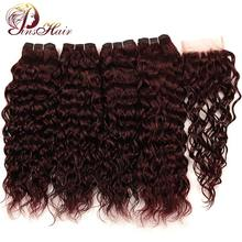 Brazilian Water Wave Hair Burgundy 4 Bundles With Closure Pinshair Pre-Colored Dark Red Human Hair Bundles With Closure Non Remy(China)