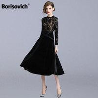 Borisovich Ladies Evening Party Dress New 2018 Autumn Fashion Velvet Patchwork Hollow Out Lace Women Casual Long Dresses N189