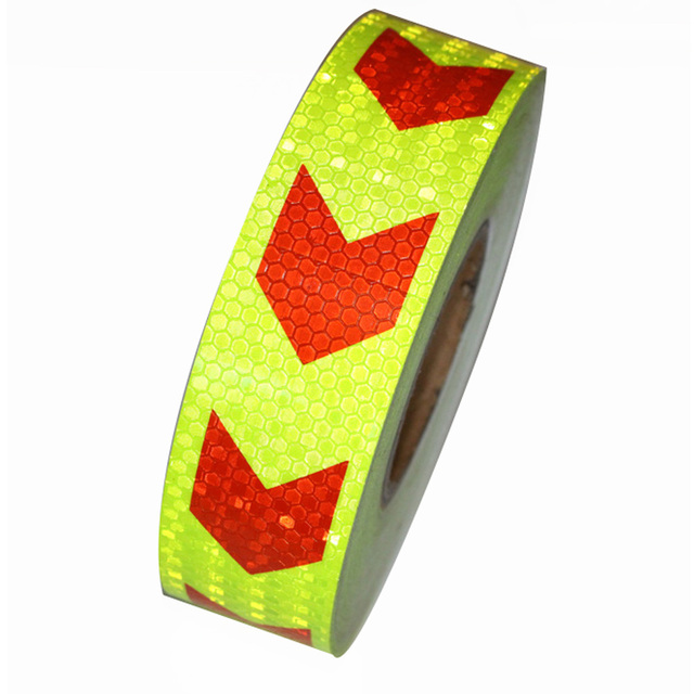 """2""""*147' Yellow with red arrows Reflective Warning Conspicuity Tape conspicuity strips Reflective Material"""