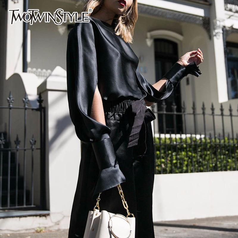 TWOTWINSTYLE Lace Up Slash Neck Women's Blouses Shirts Autumn Split Sleeve Black Rayon Big Size Elegant Tops Famale Shirt Hollow