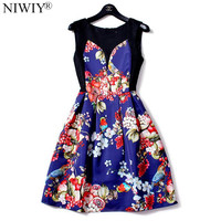 NIWIY Brand Dress New Sleeveless 3D Flower Print Woman Dress Robe Ete 2017 Vestidos Ukraine Spring Floral Dress Ropa Mujer 8383