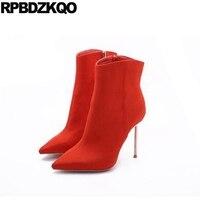 Botas de Camurça Botas de Salto Agulha de Metal de luxo Outono Sapatos Tamanho Grande Extremo Laranja botas de Tornozelo 2017 Das Mulheres de Alta Dedo Apontado Curto