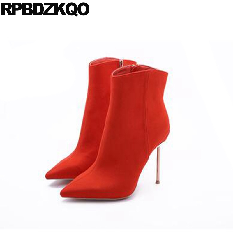 Luxury Stiletto Metal Heel Boots Suede Autumn Big Size Shoes Extreme Orange Ankle Booties 2017 Women High Pointed Toe Short elegant beige high heel 2017 booties autumn chunky metal genuine leather luxury brand shoes women boots short ankle pointed toe