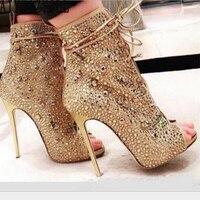 1295d5ed AIYKAZYSDL Women Crystal Rhinestone Peep Toe Sandals Summer Bootie Ankle  Boots High Heel Lace Up Cut