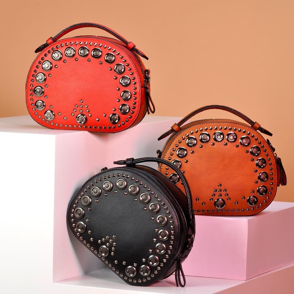 Sinsaut Women Bags Handbags Small Shoulder Bags Women Fashion Small Round Bag Rivet Messenger Crossbody Bags