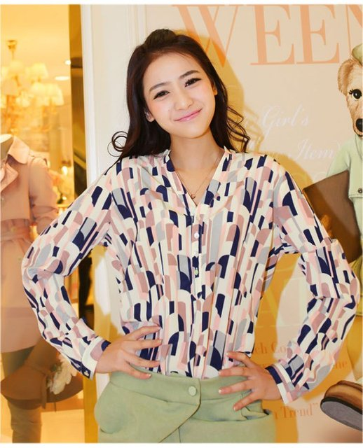 Women Long Sleeve Lapel Collar Print Blouses Shirt 2-81105