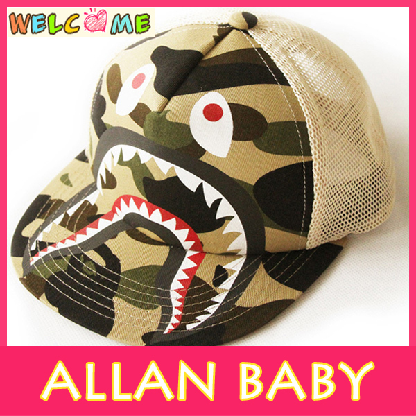 Free Shipping 2014 Fashion Style BAPE Camouflage Pattern Shark Style  Baseball Cap Snapback Cap ETMZ004 bfd7db4550