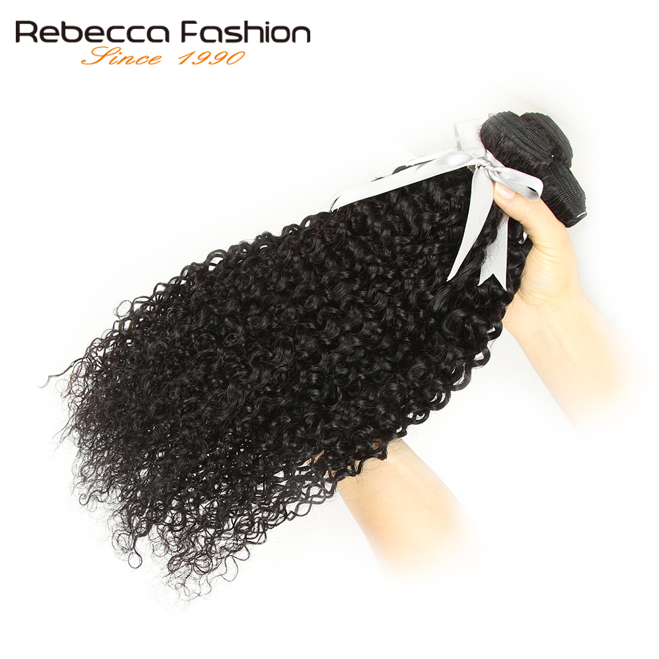 Rebecca Kinky Curly 3 4 Bundles With Closure Non Remy Human Hair Weave Extensions Brazilian Curly Hair Bundles With Closure