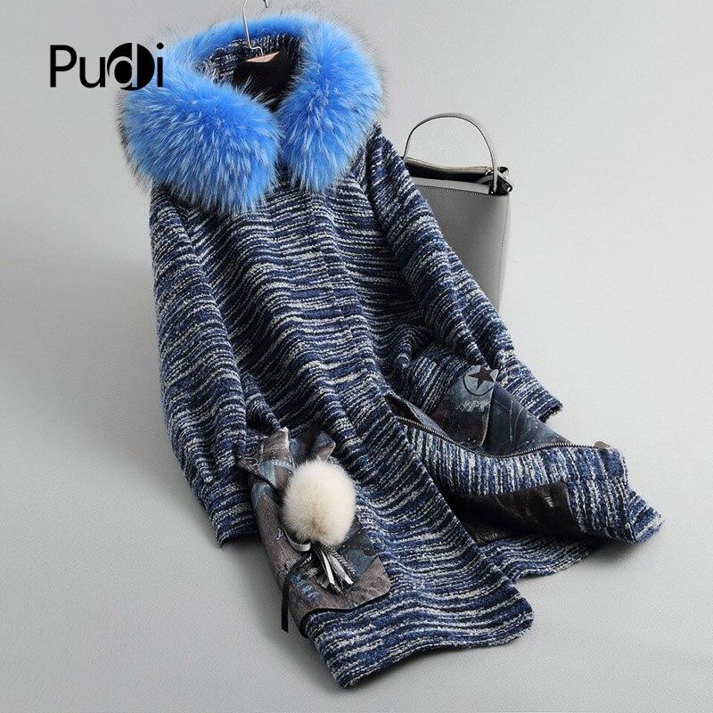 PUDI A18047 Women's Winter Warm Genuine Wool Fur With Raccoon Fur Collar Hood  Winter Coat Lady Long Coat Jacket Overcoat