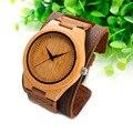 BOBO de AVES F18 Mens Top Brand Relojes de Madera De Bambú Chicago Bandas Correas Pulseras de Cuero Genuino Con la Caja de Regalo Envío de La Gota