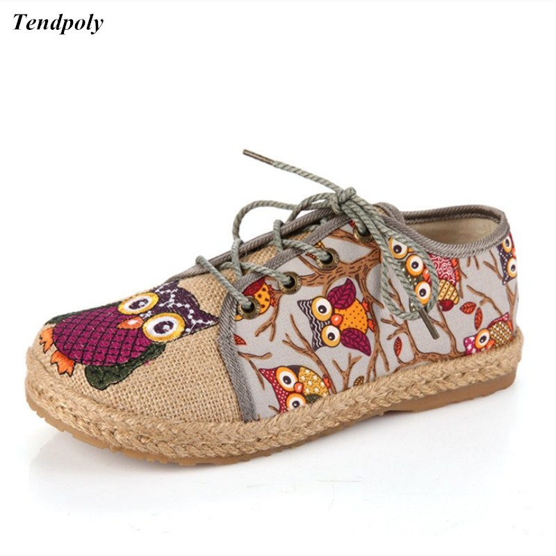 2018 The latest autumn China folk style women's shoes lace up embroidered soft bottom Old Beijing cloth shoes comfortable Owl vintage embroidery women flats chinese floral canvas embroidered shoes national old beijing cloth single dance soft flats