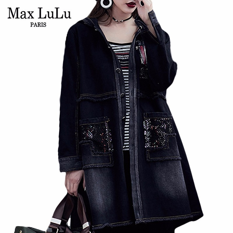 Max LuLu Korean Luxury Autumn Womens Long Denim   Trench   Coats Embroidery Ladies Fashion Windbreaker Woman Black Clothes Plus Size