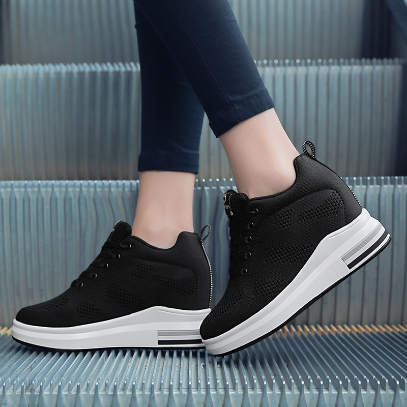 Hide Heel Women Fashion Sneakers Flying Knitting Wedge Casual Shoes Woman Air Mesh Breathable Autumn High Top Ladies Shoes SH3 (31)