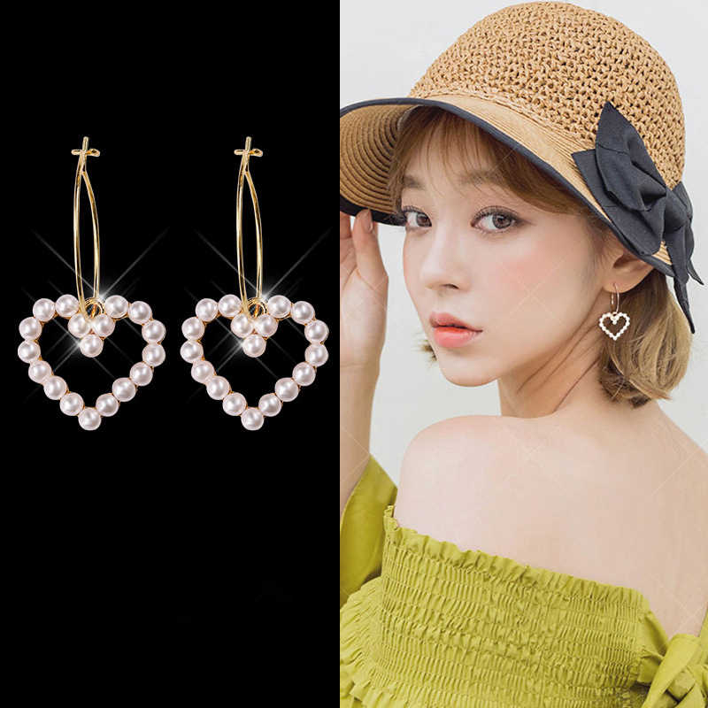 2018 New Arrivals Women's Fashion Maxi Statement Earrings Geometric Circle Simulated Pearl Heart Drop Earrings For Women Jewelry