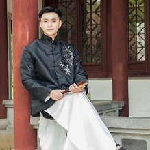 High quality Materials Black White Chinese Landlord Rich Mens Ancient Long Robe Asian Master Gown TV Movie Performing Clothing