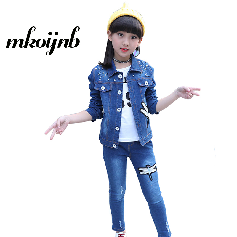 Girls Clothing Set 2018 Spring Kids Sets For 4 6 8 10 12 13 Years Cartoon Dragonfly Jacket+Jeans 2Pcs Girls Sports Cowboy SuitsGirls Clothing Set 2018 Spring Kids Sets For 4 6 8 10 12 13 Years Cartoon Dragonfly Jacket+Jeans 2Pcs Girls Sports Cowboy Suits