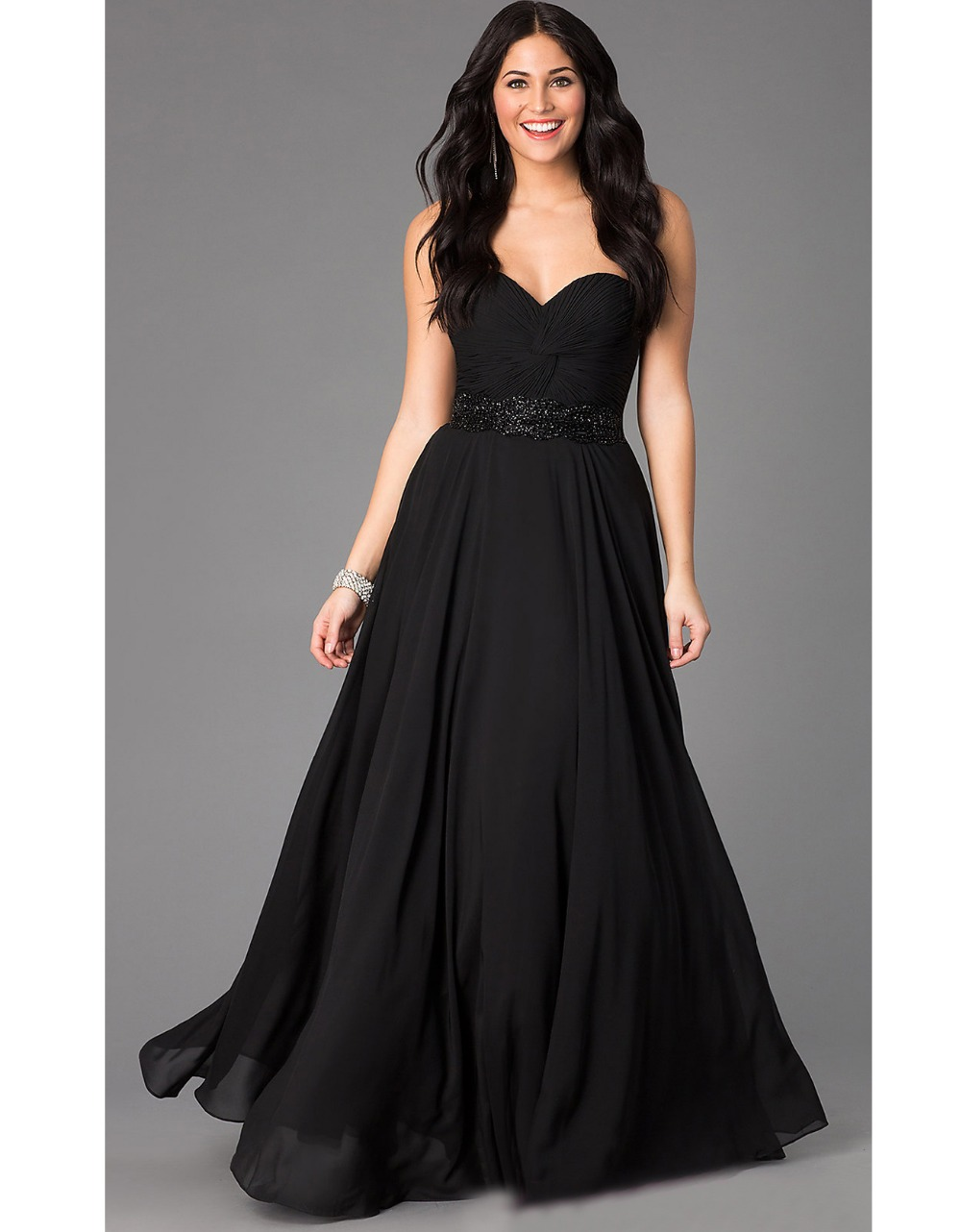 Long Black Masquerade Dress Prom Abendkleider 2015 Crystal