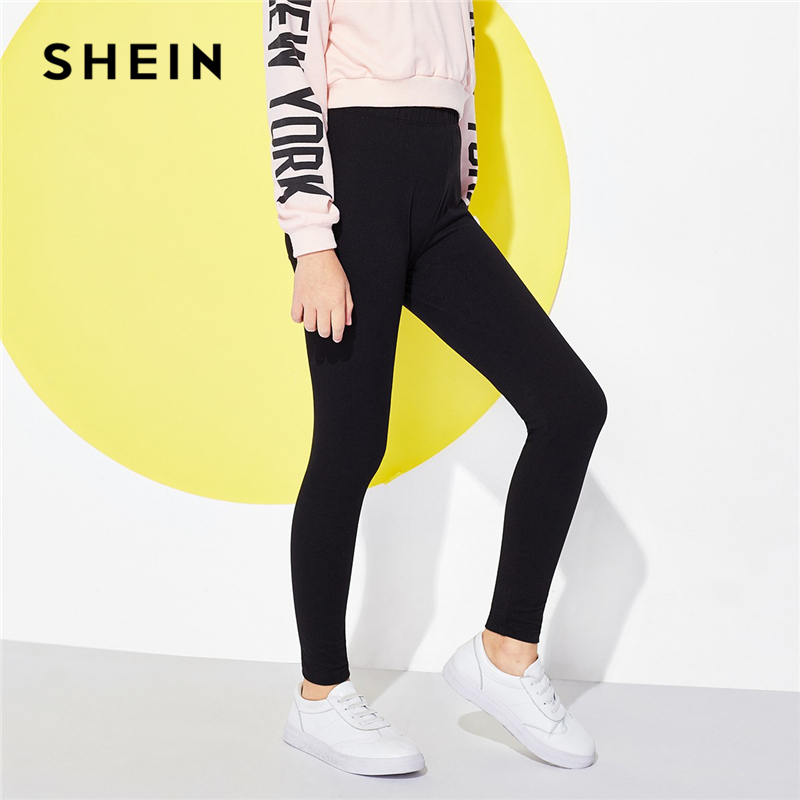 SHEIN Girls Black Solid Elastic Waist Casual Pants Girls Leggings 2019 Spring Fashion Elegant Pencil Pants Korean Kids Clothing solid self belted wide leg pants