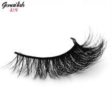 Genailish Mink Lash Handmade Mink Eyelashes Natural False Eyelashes High Quality Fake Eye Lashes Extension for Makeup-A19