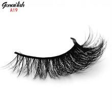 Genailish Mink Lash Handmade Mink Eyelashes Natural False Eyelashes High Quality Fake Eye Lashes Extension for Makeup-A19