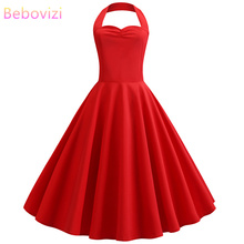 Bebovizi 2019 Summer New Women Vintage Elegant Pure Red Dresses Halter Print Plus Size Sexy Casual Office Retro A-Line Dress
