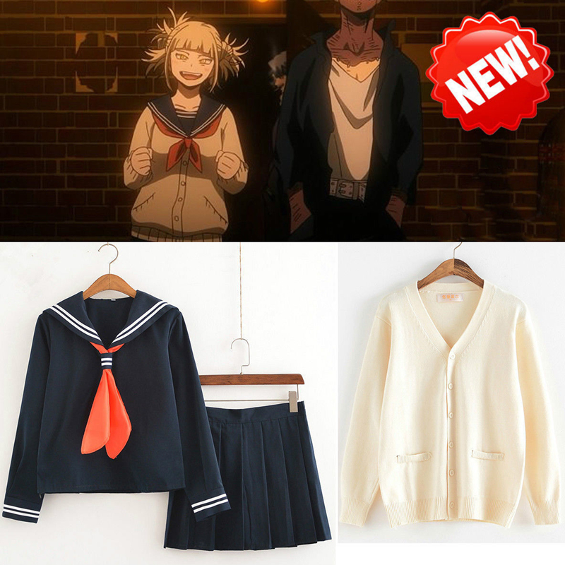цена на Anime My Hero Academia Boku no Hero Academia Himiko Toga JK Uniform Skirts Sweater Sweatshirts Cardigan Cosplay Costumes Suit