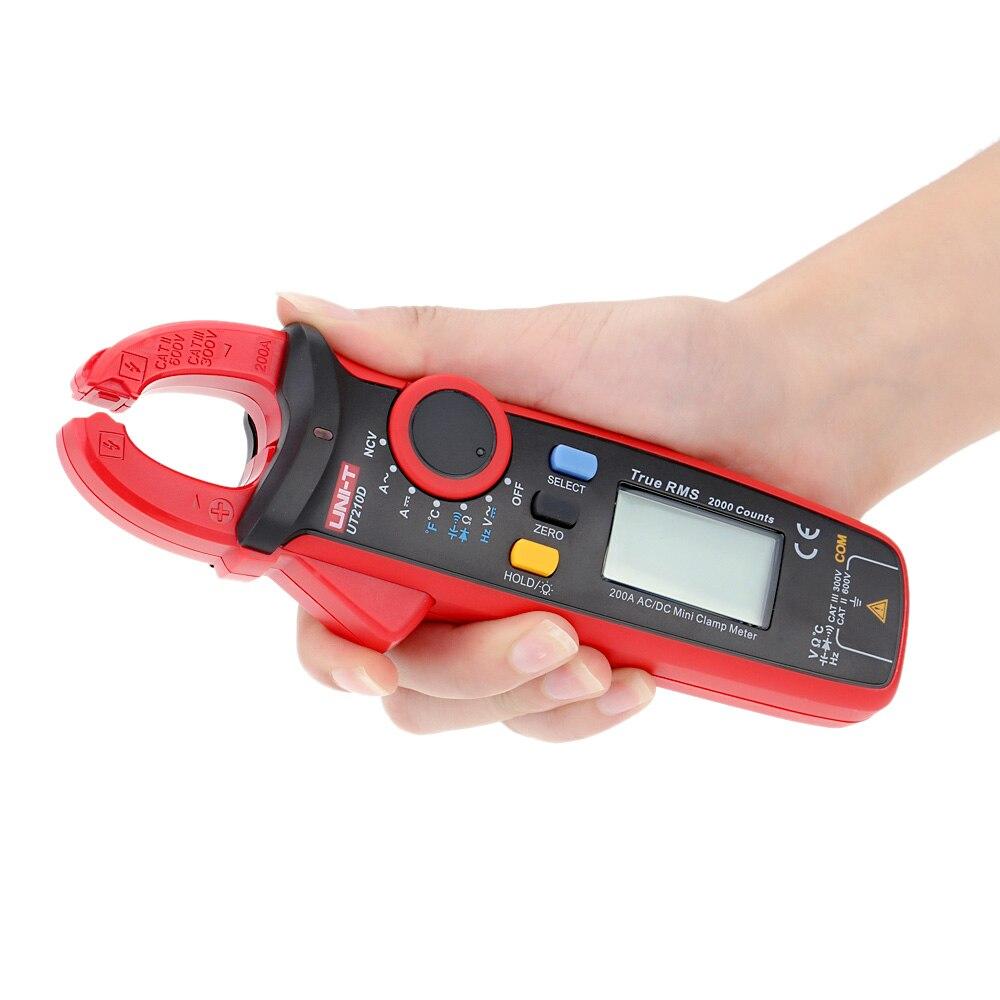 UNI T UT210D Digital Clamp Meter Multimeter AC DC Current Voltage Resistance CapacitanceTemperature Measurement Auto Range