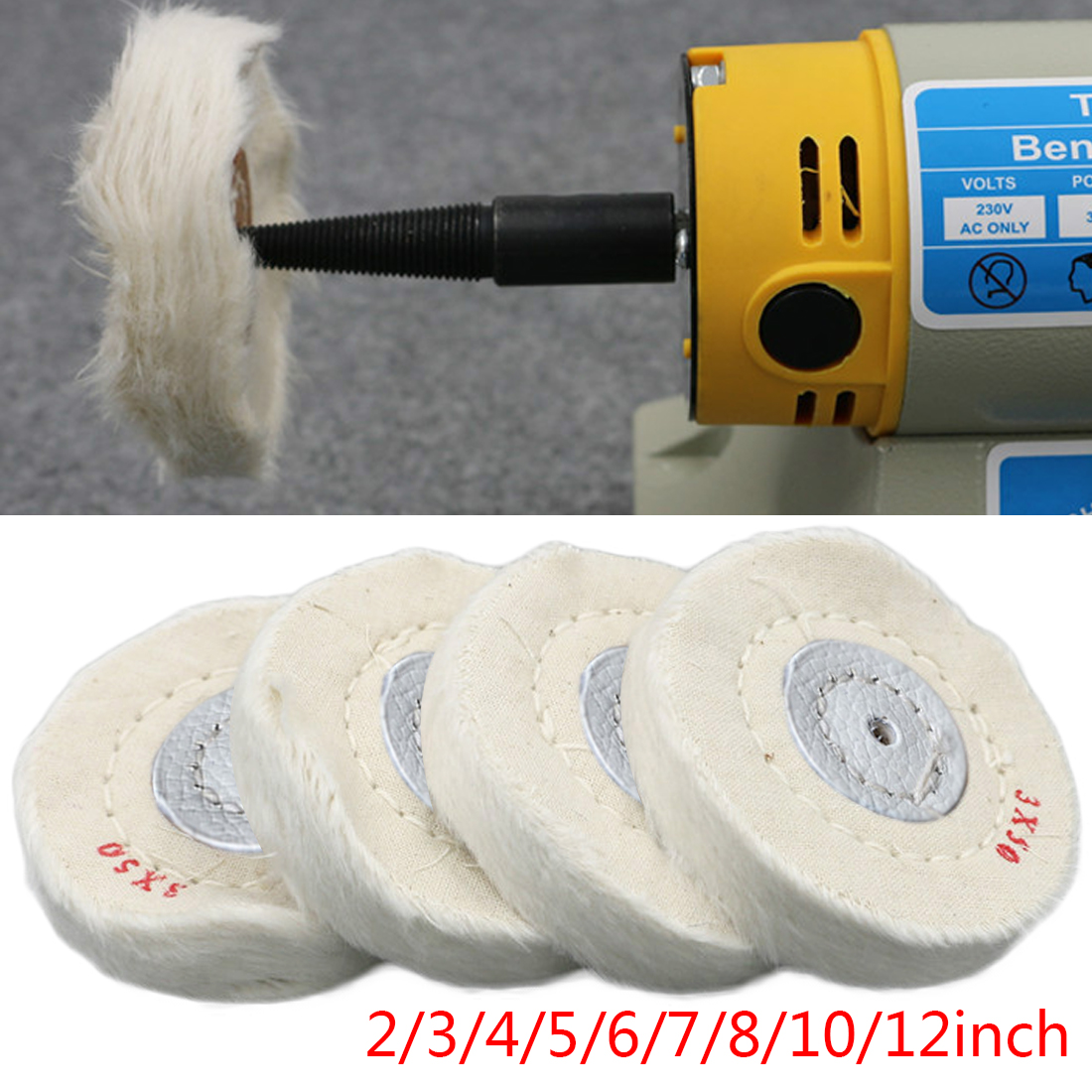 50mm-300mm  1pc Cotton Lint Cloth Buffing Wheel Gold Silver Jewelry Mirror Polishing Wheel 4mm Inner Hole 50 Layers