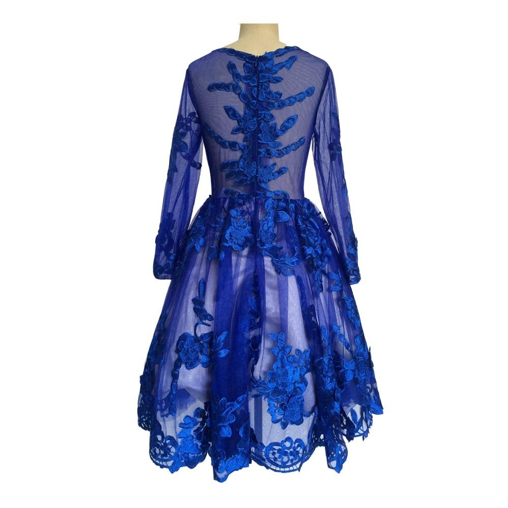 Fine A-Line Royal Blue Cocktail Dresses 2017 Evening Party Knee Length Lace Appliques Homecoming Dresses