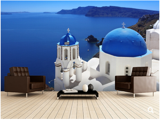 Custom natural landscape wallpaper santorini with for Design hotels griechenland
