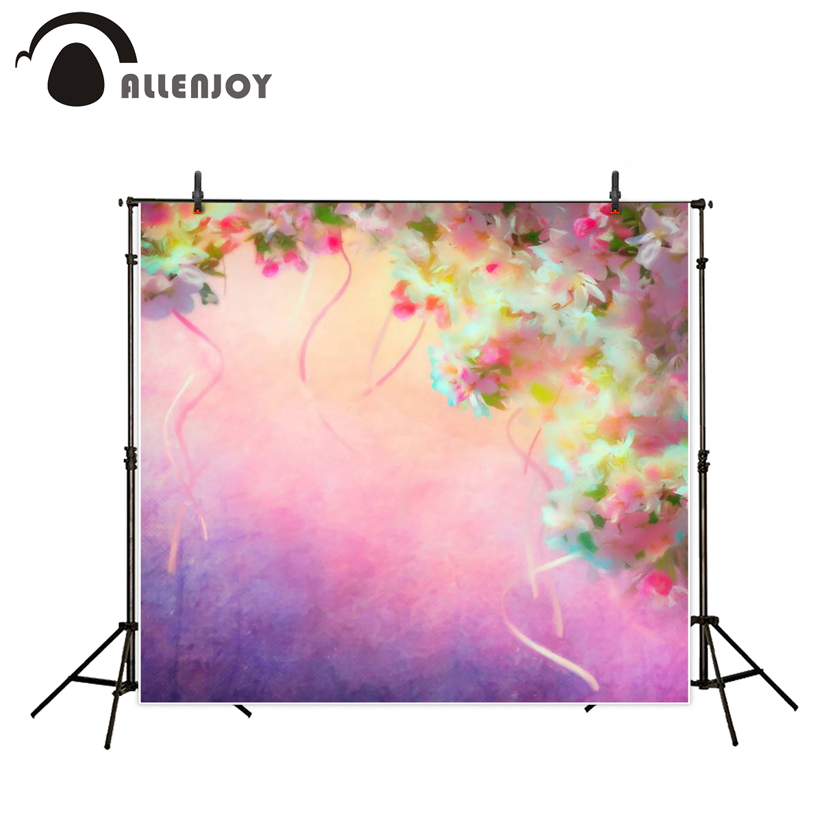 Allenjoy backgrounds for photo studio flower purple baby shower abstract photography backdrop photobooth vinyl cloth fabric цена